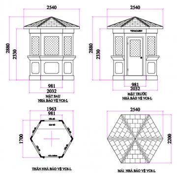 Bản vẽ VC6L 360x362 - Bốt gác lục giác VC6L